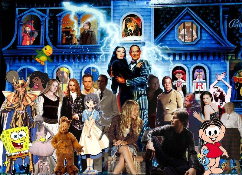 Imagem feita por Francisco Scaramanga. Mansão da Familia Addams e seus membros mais ativos